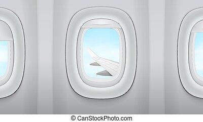 osservare dentro, il, finestra, su, ala, di, un, aeroplano, blu, cielo nuvoloso