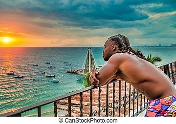 osservare, muscolare, oceano, americano, tramonto, africano, ov, uomo