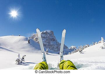 osservare, panorama, dettaglio, gambe, sciatore, valle,...