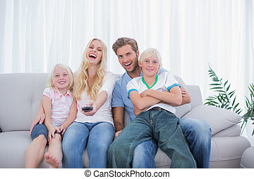 osservare, ridere, tv, insieme, famiglia