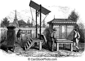 osservatorio, vendemmia, meteorologico, incisione