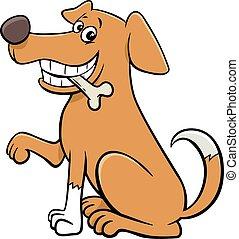 osso, animale, cane, seduta, carattere, cartone animato