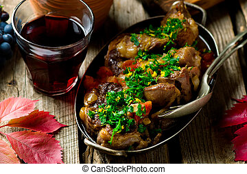 Ossobuco Milanese. style rustic. Selective focus