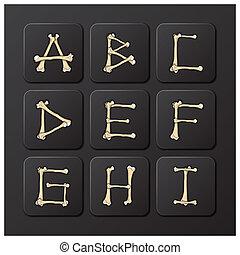ossos, alfabetos, jogo, 1