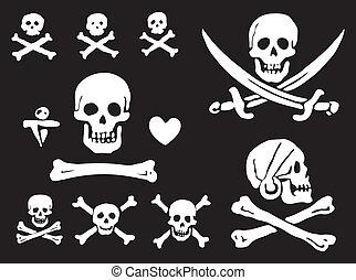 ossos, bandeiras, crânios, pirata