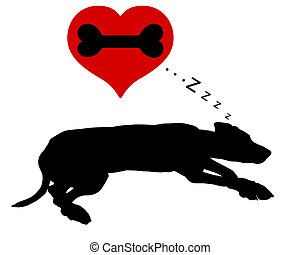 ossos, cão, sonhos