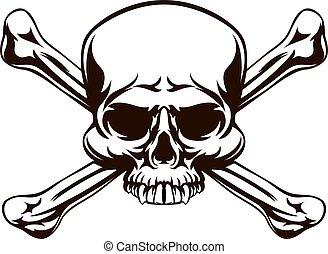 ossos, crucifixos, cranio, sinal