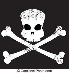 ossos, grungy, símbolo, crucifixos, cranio