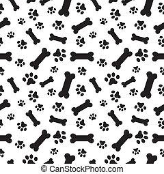 ossos, padrão, patas, cão