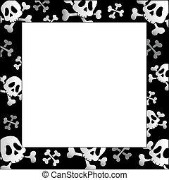 ossos, quadro, crânios, pirata