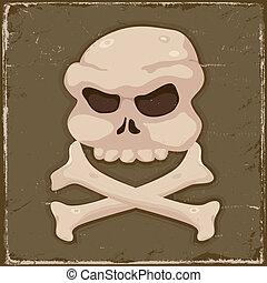 ossos, vindima, crucifixos, cranio
