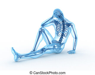 ossos, visível, macho, sentando