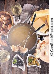 ost, fondue, og, ingrediens