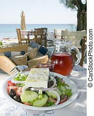ost, gjord, skorpartad, sallad, öar, ro, ö, taverna, grek, ...