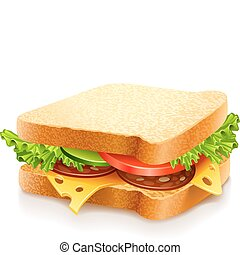 ost, grönsaken, sandwich, aptitretande
