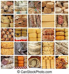 ost, och, kött, specialties, på, italiensk, bönder...