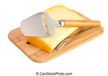 ost, på, en, træagtigt skrivebord