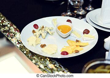 ost, restaurang, cathering, appetizer, födelsedag, bordläggar, stilig, dekorerat, firande, lyxvara