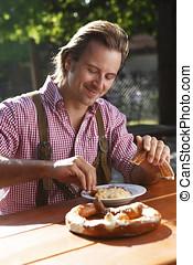 ost, trädgård, bayersk, salt kringla, äta, traditionell, öl, attraktiv, man