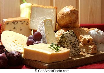 ost uppläggningsfat, med, någon, organisk, frisk, ost