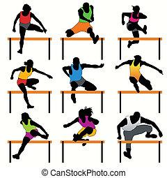 ostacoli, atleti, silhouette, set
