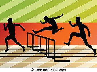 ostacoli, barriera, uomini, silhouette, illustrazione,...