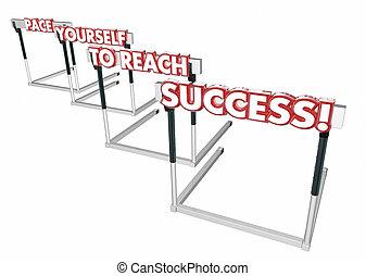 ostacoli, successo, vincere, illustrazione, te stesso, passo, riuscire, 3d