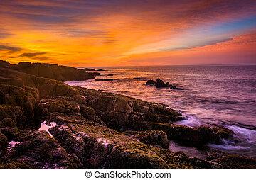 ostadig, över, nation, acadia, atlant- ocean, kust, soluppgång