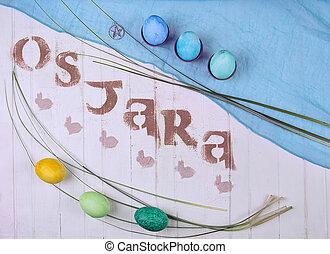 Ostara sabbath symbols made with food typography.