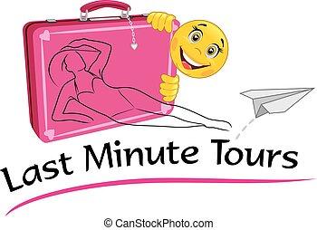 ostatnia minuta, tours., rysunek, dla, niejaki, biuro podróży