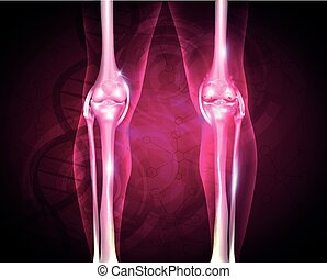 Osteoarthritis, painful joint and healthy joint, beautiful bright background with DNA chain