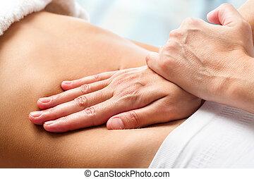 osteopathic, ventre, massage.