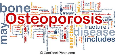 Background concept wordcloud illustration of osteoperosis bone disease