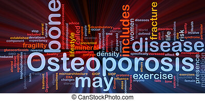 Background concept wordcloud illustration of osteoperosis bone disease glowing light