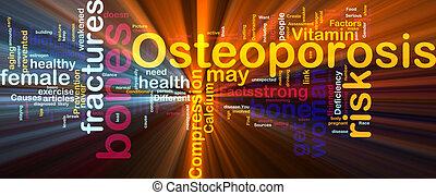 osteoperosis, palabra, nube, encendido