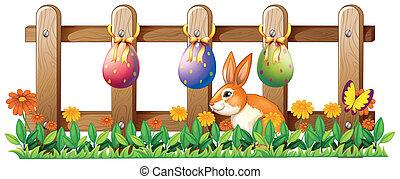 ostereier, an, der, zaun, und, a, kaninchen