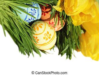 ostereier, in, gras, mit, tulpen