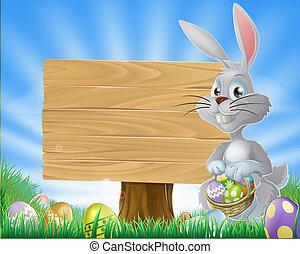 ostereier, kaninchen, und, zeichen