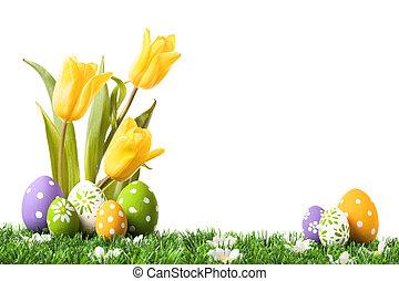 ostereier, verstecken, in, der, gras, mit, tulpen