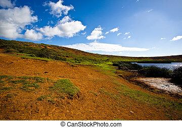 osterinsel, vulkan, krater, mit, kleiner see