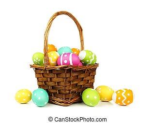 osterkorb, gefüllt, mit, bunte, eier