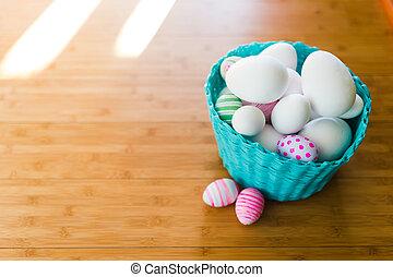 osterkorb, mit, eier, auf, a, hölzerner stock