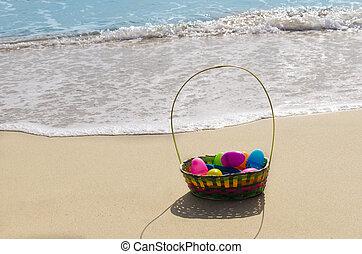 osterkorb, mit, eier, strand
