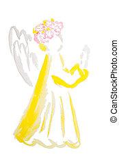 ostern, engelchen, aquarell, freigestellt