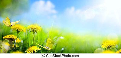 ostern, frühlingsblume, background;, frisch, blume, und, gelber schmetterling, auf, grünes gras, hintergrund