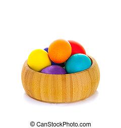 ostern, fruehjahr, eier, karte, weiß, hintergrund