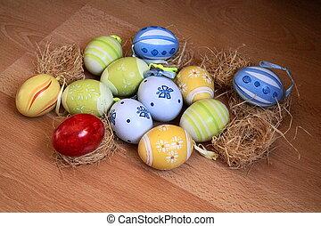 ostern, hintergrund, mit, bunte, eier