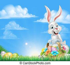 ostern, karikatur, hintergrund, kaninchen