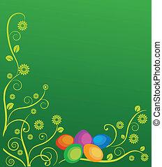 ostern, karte, mit, blumen, und, bunte, eier
