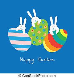 ostern, karte, mit, lustiges, kaninchen, und, eier